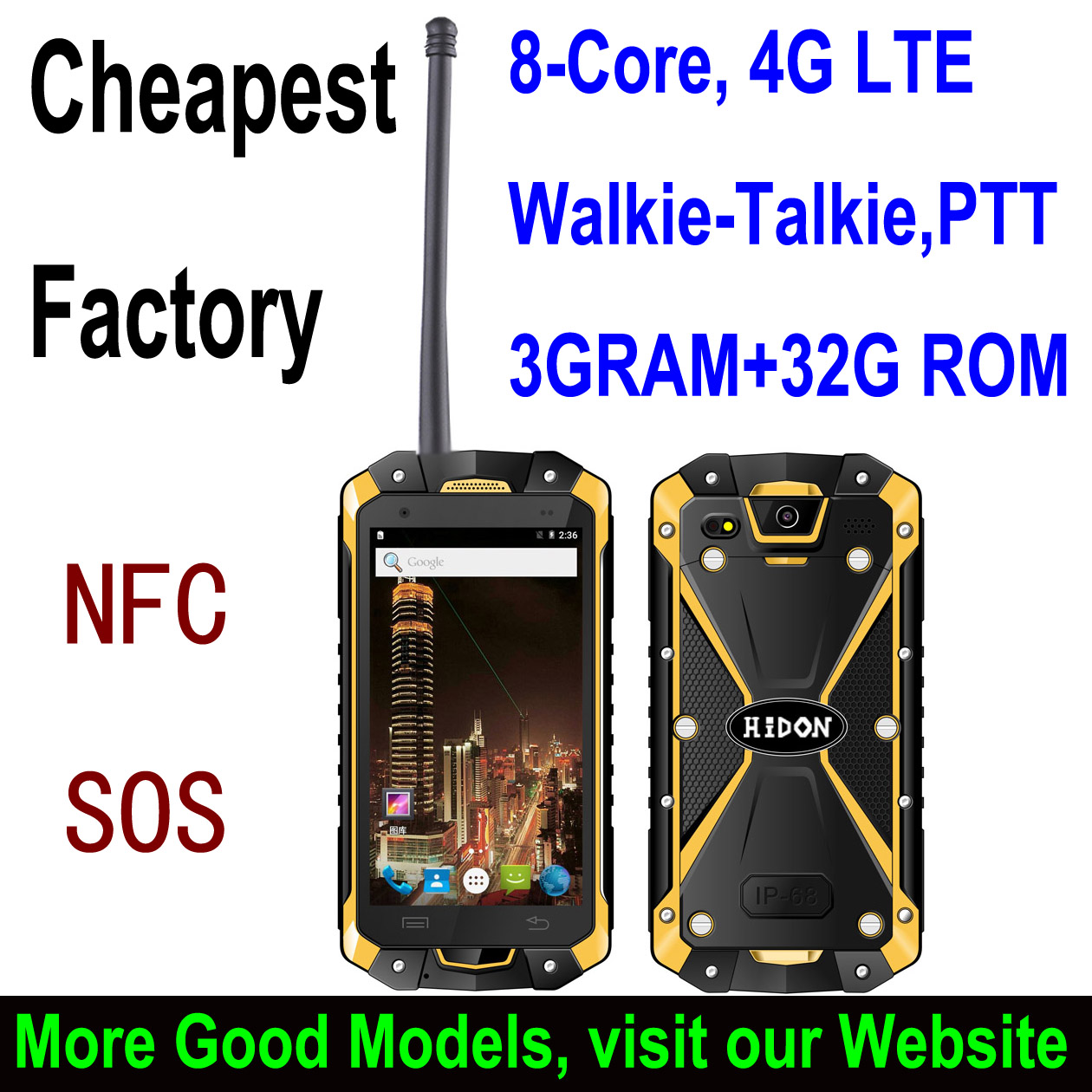 "Highton 4.5"" Octa-core IP68 Rugged Smart phone with NFC SOS Digital Walkie-Talkie rugged waterproof mobile handheld terminal"