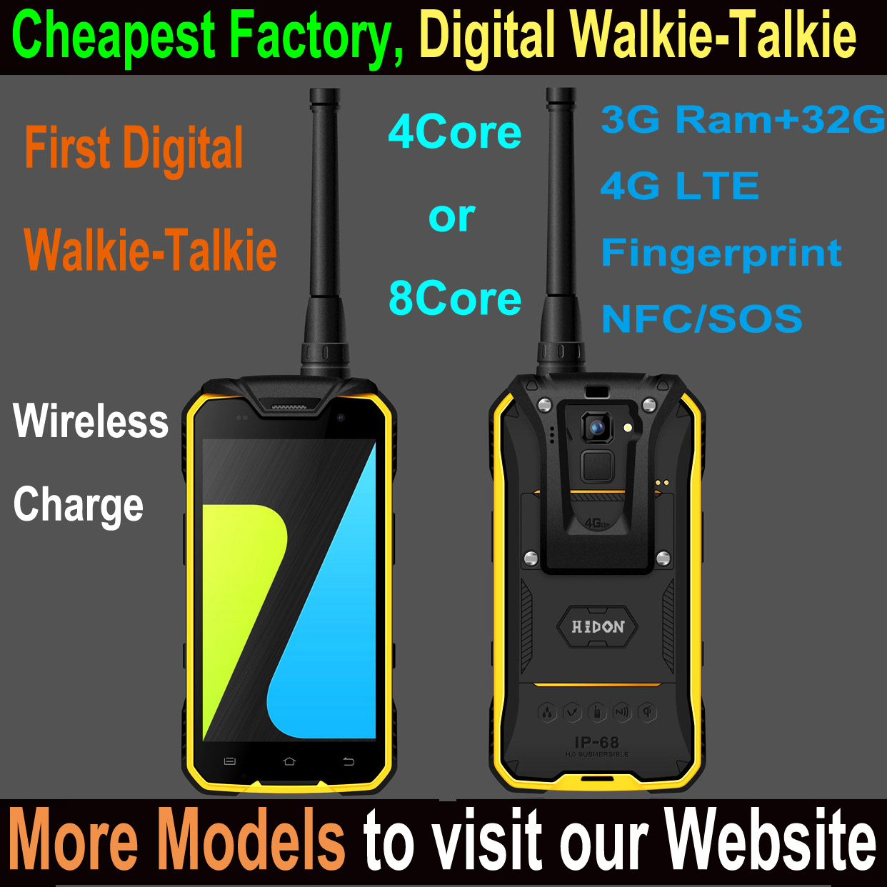 Highton Octa-core 4.7 inch digital intercom phone with fingerprint scanner 3+32G digital walkie-talkie waterproof Smartphone