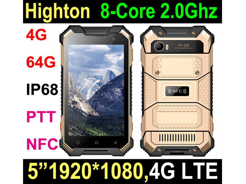 Highton 5 inch FHD 1920*1080 Android 6.0 PTT NFC SOS Octa-Core 4G waterproof outdoor smartphone,waterproof smartphone,4G waterproof phone HR575